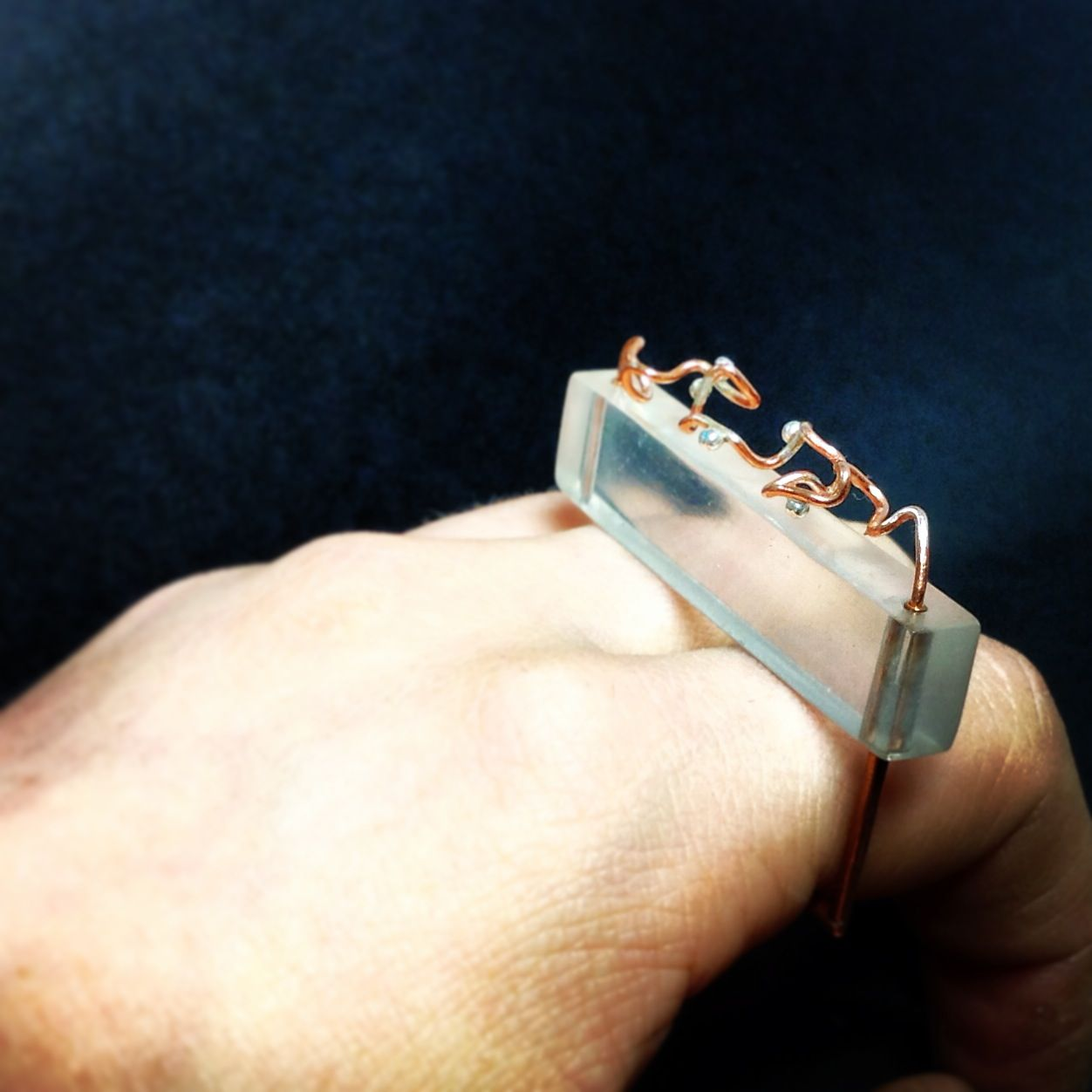 Ideology workshop aquarious ring copper silver and acrylic