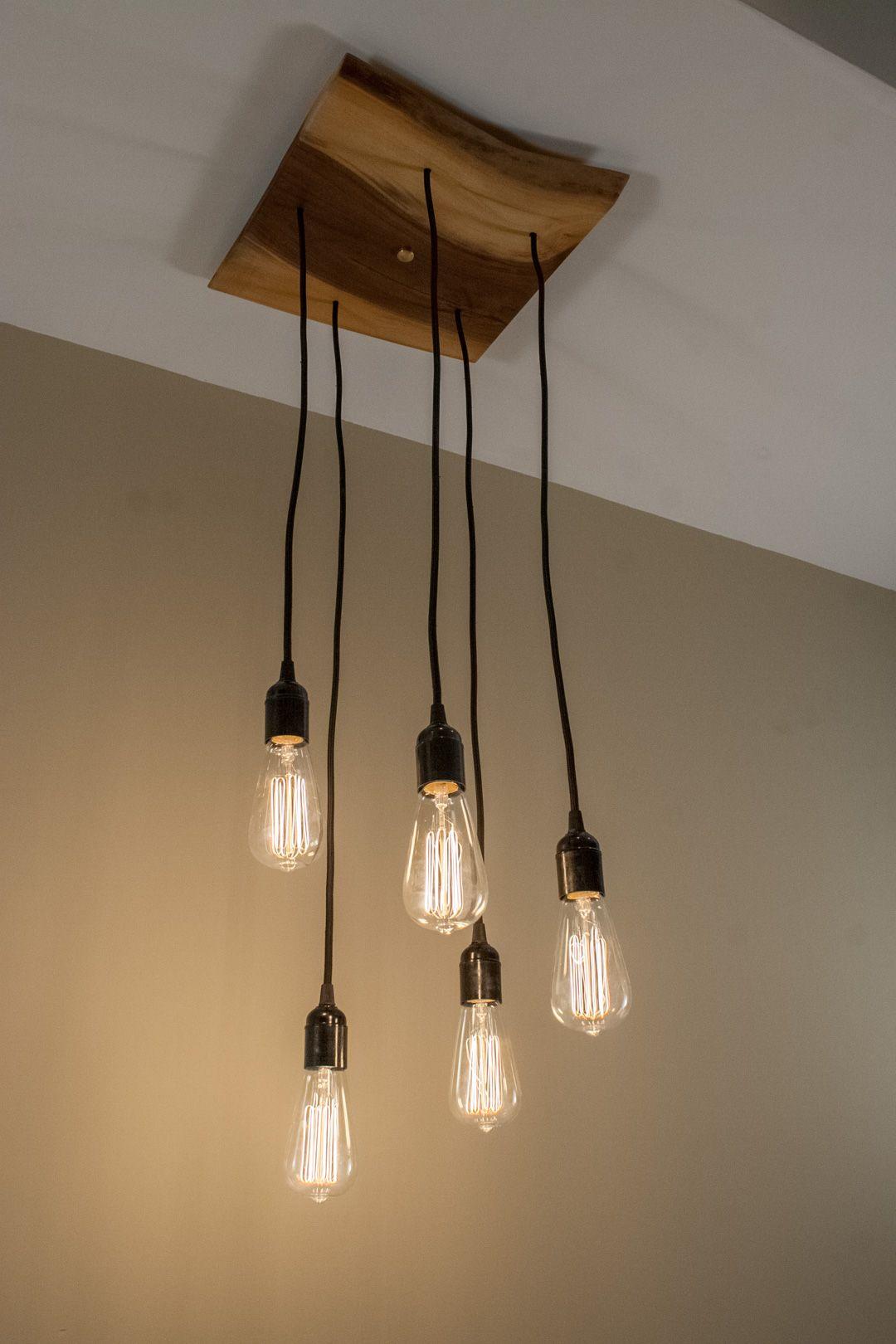 5 Pendant Walnut Live Edge Edison Bulb Chandelier Edison Bulb