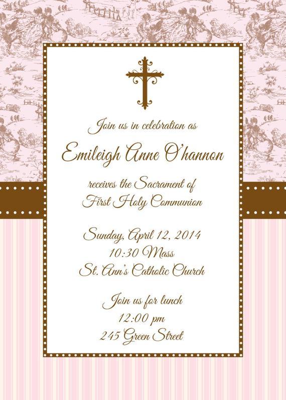 First Holy Communion Invitation First Communion Invitation Toile