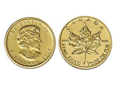 2013 Canadian Maple Leaf 1 10 Ounce Gold Bullion Coin Gold And Silver Coins Gold Bullion Coins Silver Coins