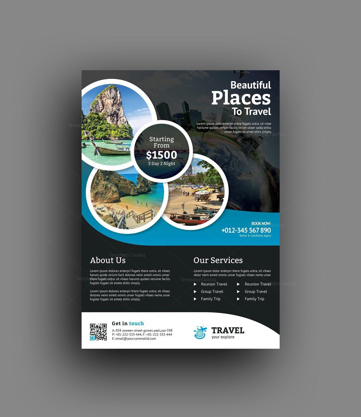 Tropical Travel Agency Flyer Design Template Flyer