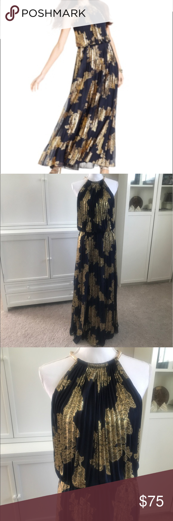 220f7c203ae Xscape pleated foil Printed navy halter dress Size 8 and in near perfect  condition. There