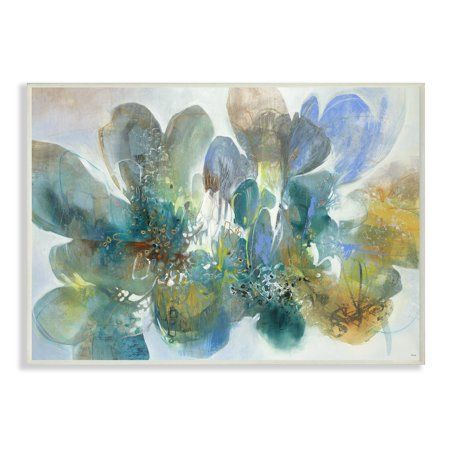 Multi-Color The Stupell Home Decor Blue and Green Bright Painterly Florals Framed Giclee Texturized Art 16 x 20