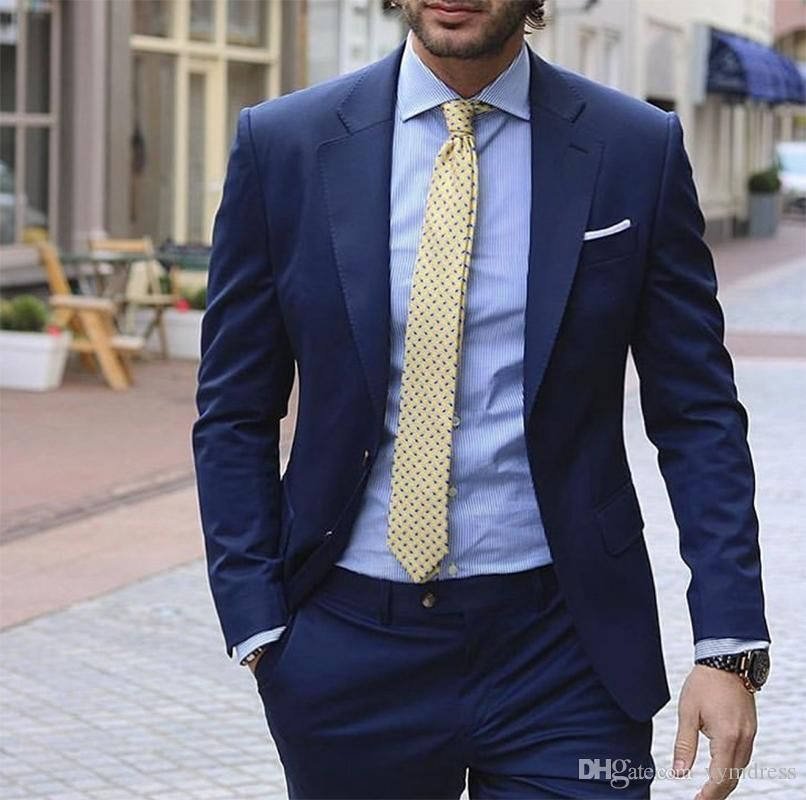 New Blue Weddingtuxedos 2019 Notched Lapel Classic Fit Two Button Mens Prom Tuxedos Suits Two Piece Jacket Pants0870 Suits For Men Wedding Suits From Yymdress Blue Suit Men Suits Men Business