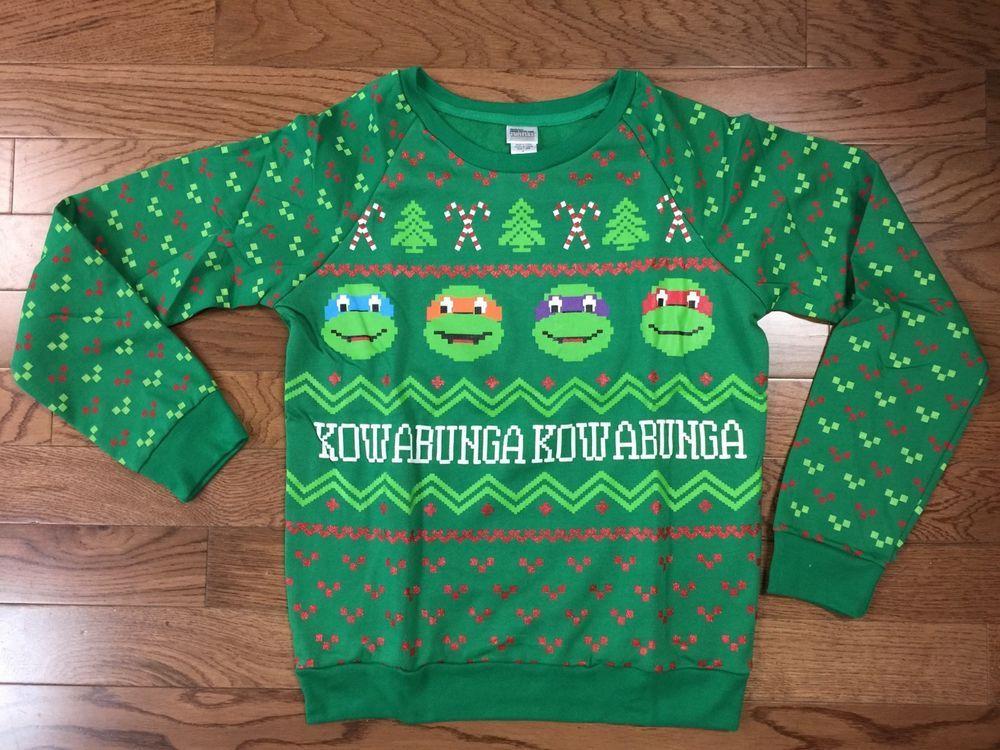 New Teenage Mutant Ninja Turtles Juniors Ugly Christmas Sweater ...