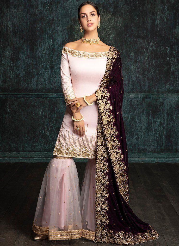Light Pink Gharara Suit with Deep Plum Shawl | Indian gowns, Sharara  designs, Gharara designs