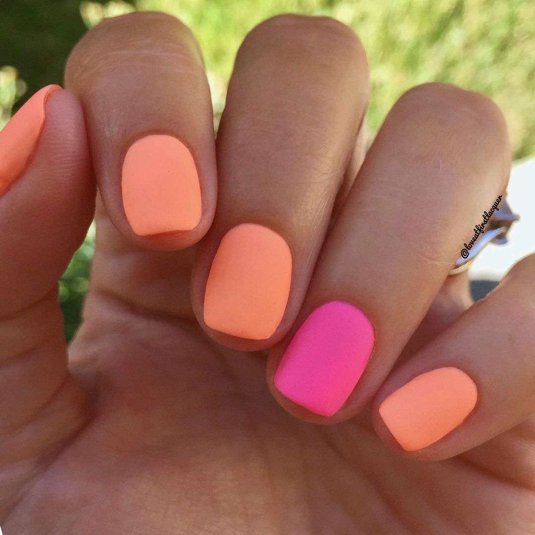 Perfect Summer Nails Bright Neon And Orange Matte Nails Are Definitely Nail Trends 2019 Unhas Colorful Nail Designs Summer Nails Colors Summer Gel Nails
