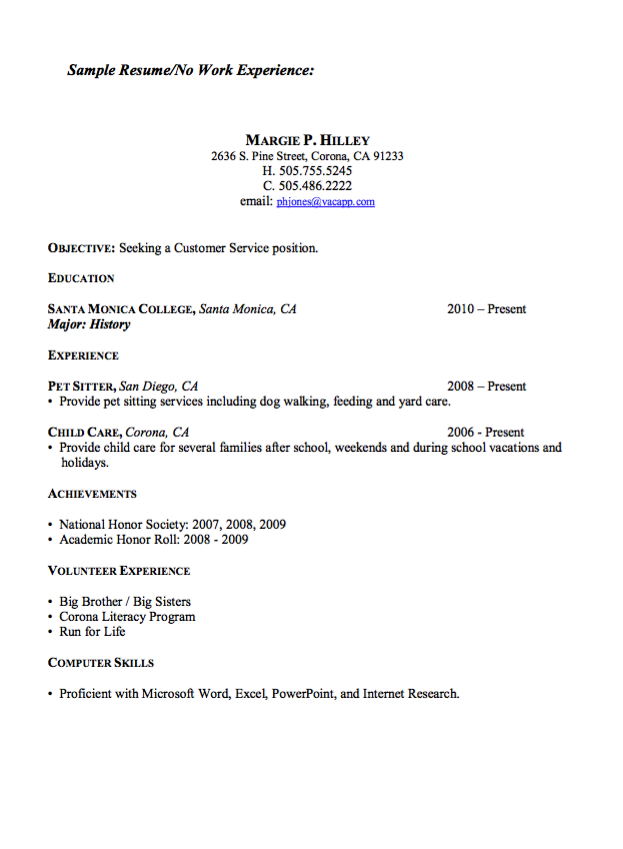 Resume Sample For No Work Experience  HttpExampleresumecvOrg