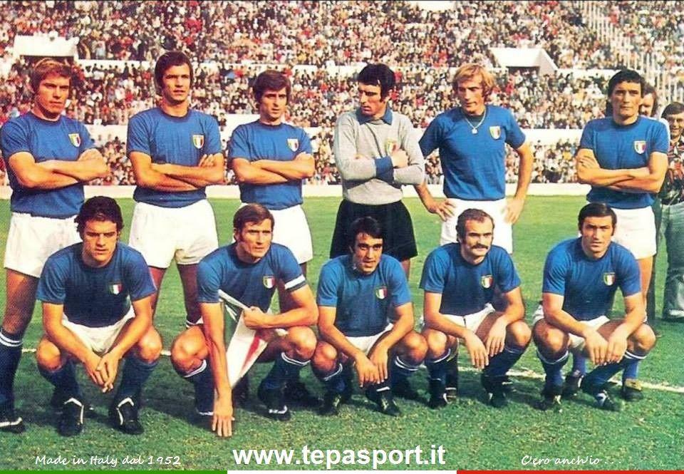 1973 la nazionale italiana di calcio schierata nella