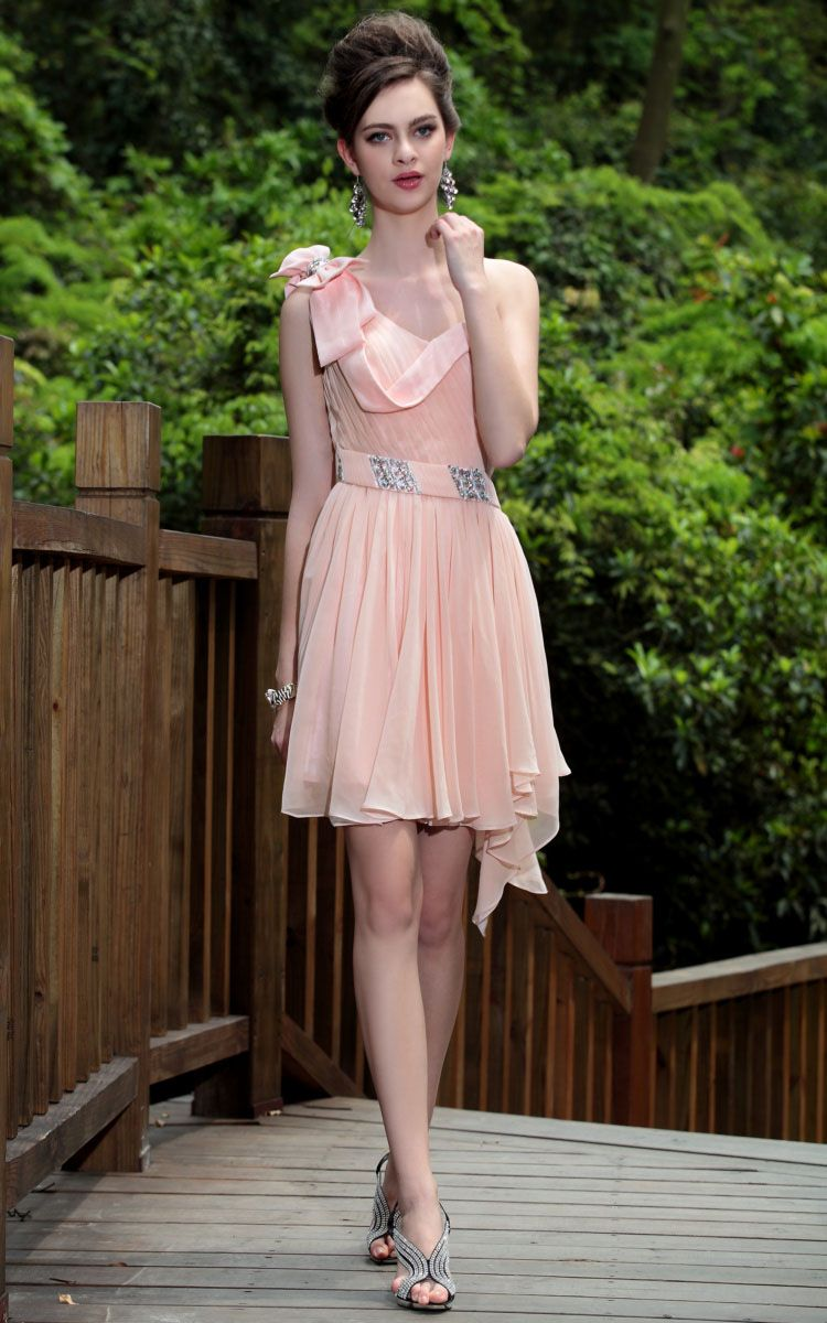 Light pink one shoulder pleated short mini formal prom dress my