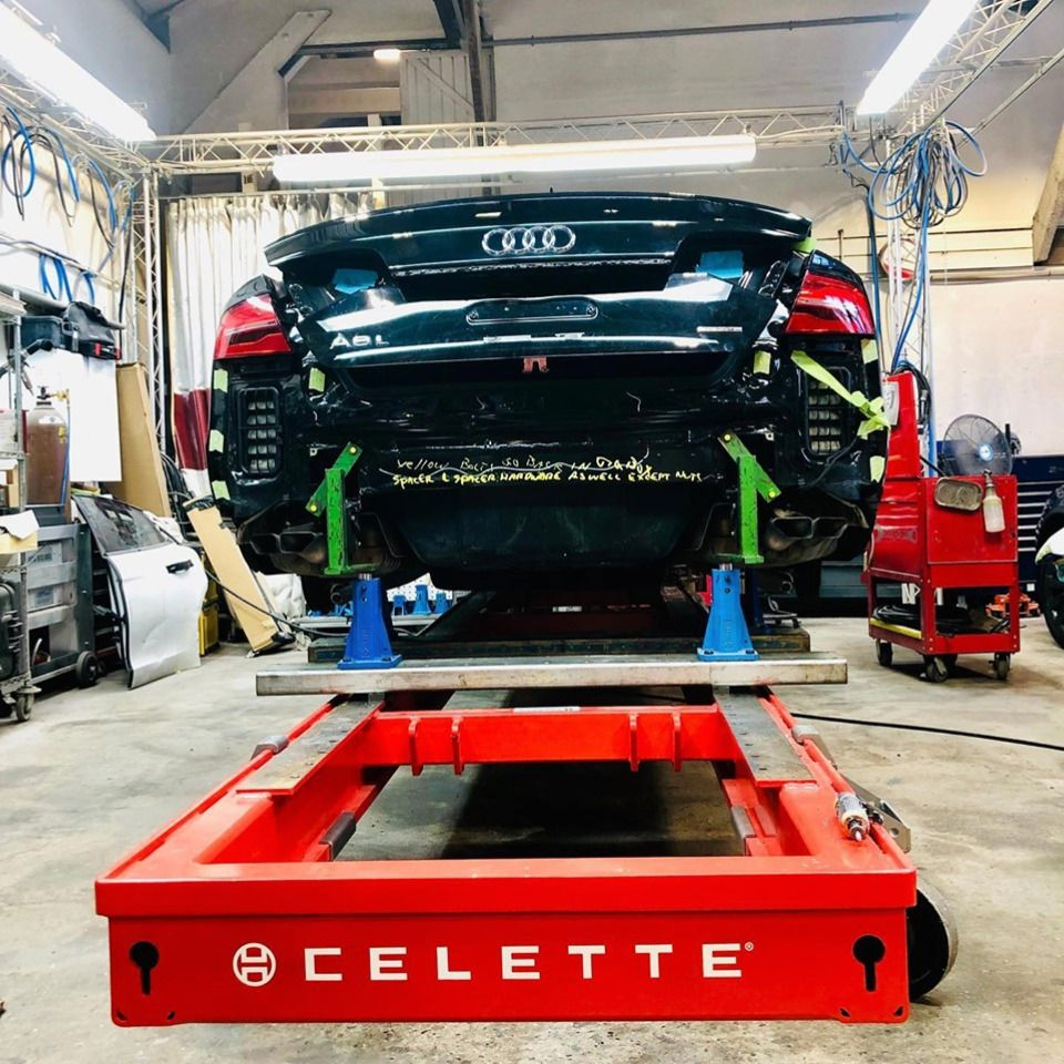 Flower Hill Auto Body Using Celette Car Frame Machine To Repair Cars Back To Their Oem Specs