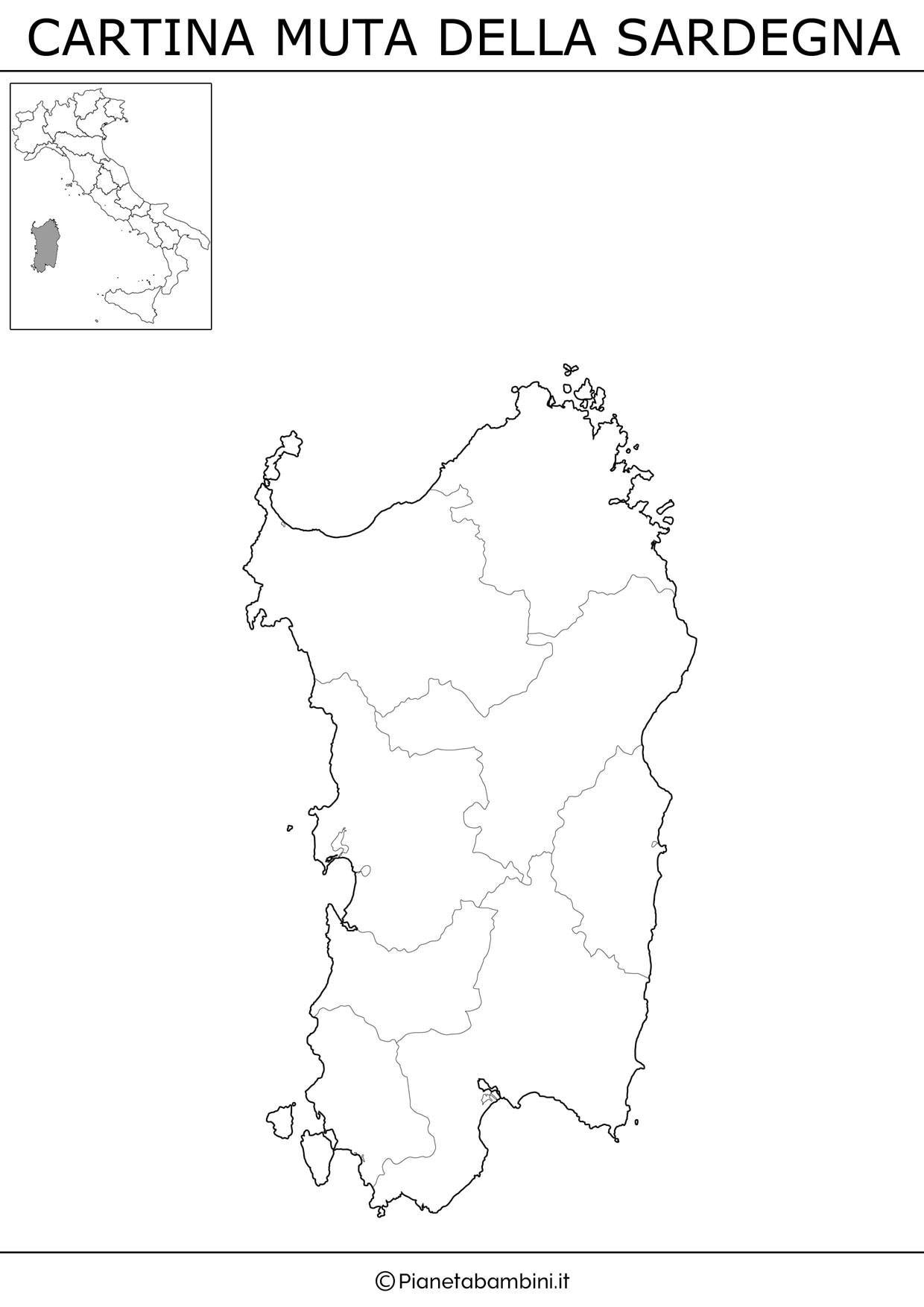 Cartina Muta Fisica E Politica Delle Sardegna Da Stampare Scuola