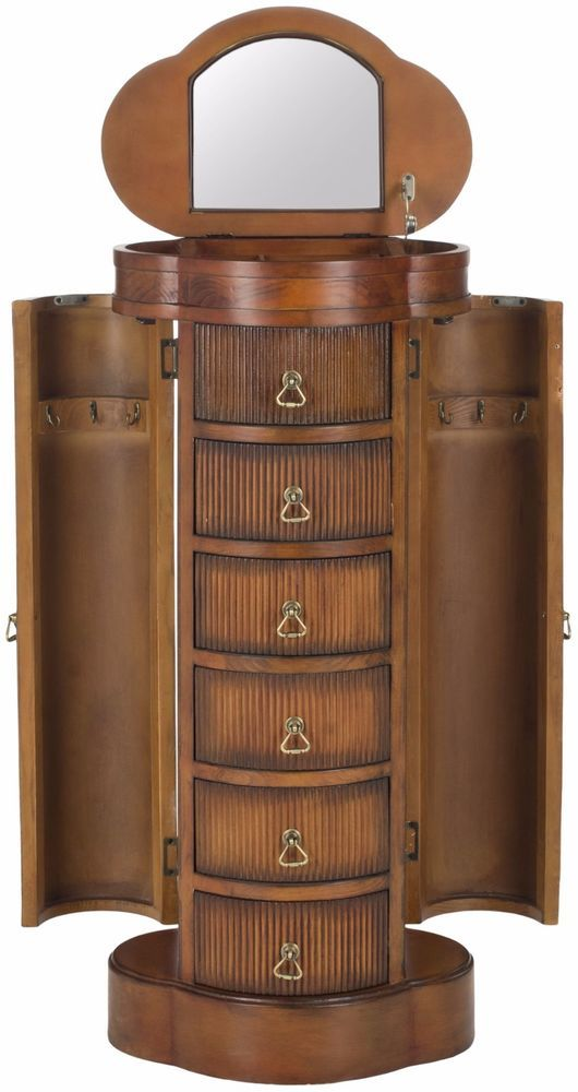 Safavieh Regina Jewelry Armoire Organizer Luxury Cabinet with Mirror