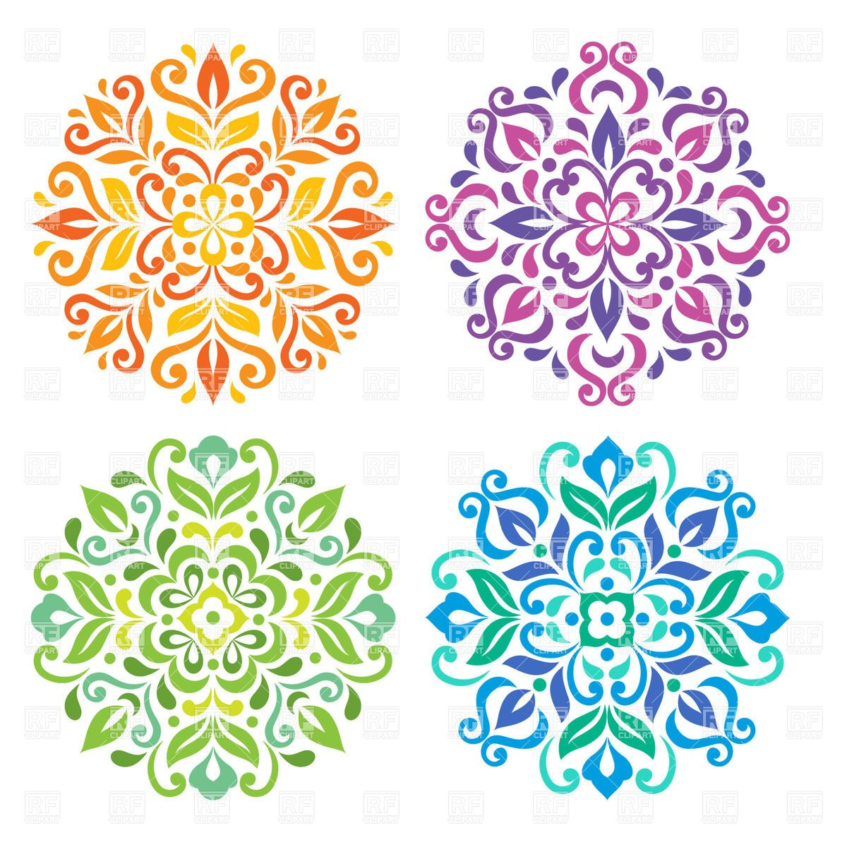 Vector image of Colorful round floral mandalas #29303 includes ...