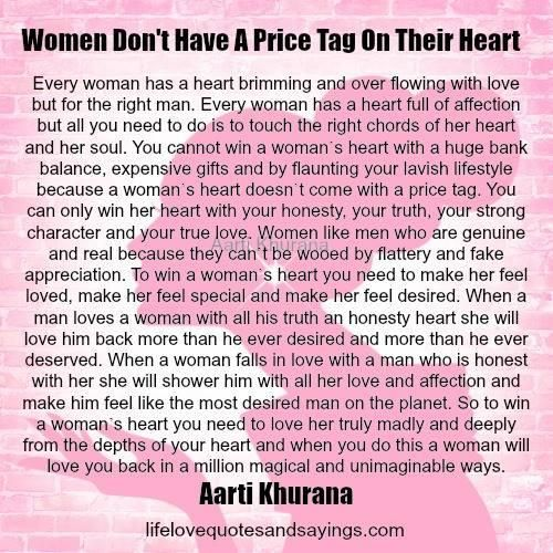 WOMEN DONu0027T HAVE A PRICE TAG ON THEIR HEART Every woman has a - price quotation