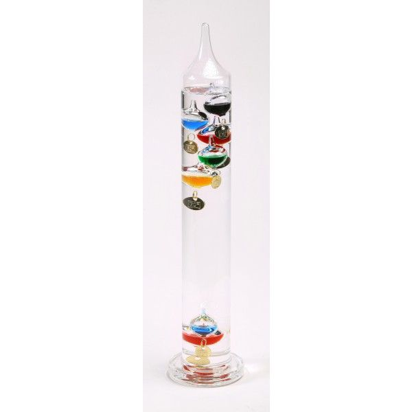 """15"""" Glass Galileo Thermometer with seven multi-color spheres and gold colored temperature tags. Temperature range in 4 degree increments from 62 to 86 degrees Fahrenheit. Item comes packaged in a full color gift box with instructions.  Gift Ideas  for him for best friend  for men for Christmas"""