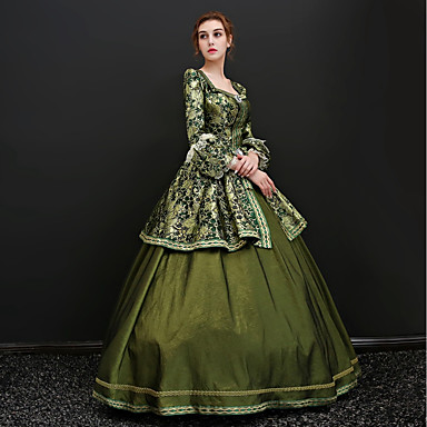 Rococo Lace Up Victorian 18th Century Dress Party Costume Masquerade Ball Gown Women's Satin Costume Green Vintage Cosplay Party Prom 3/4 Length Sleeve Floor Length Ball Gown Plus Size Customized
