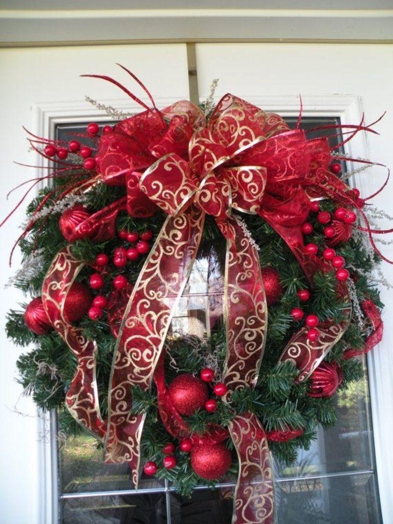 Festive Wreath Christmas Decoration Christmas Wreath Poinsettia Xmas Bell Holiday Wreath Christmas Front Door Wreath