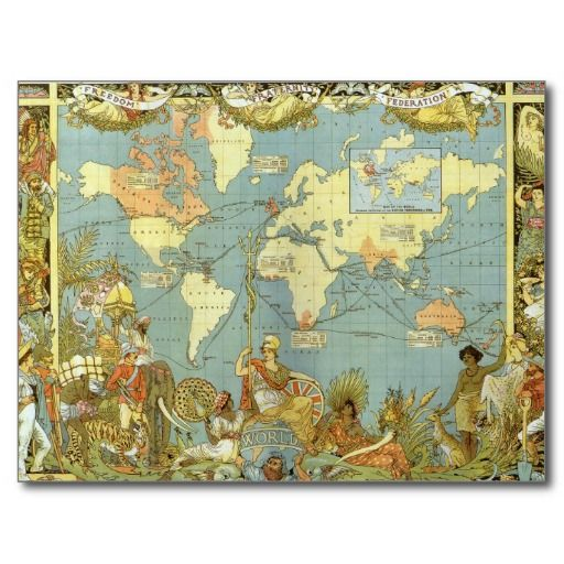 Hello Antique World Map British Empire Post Cards Antique - Cheap vintage maps