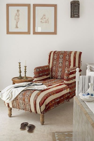 Moroccan Berber Cape As Upholstery For A Chaise Lounge Furniture Home Interior