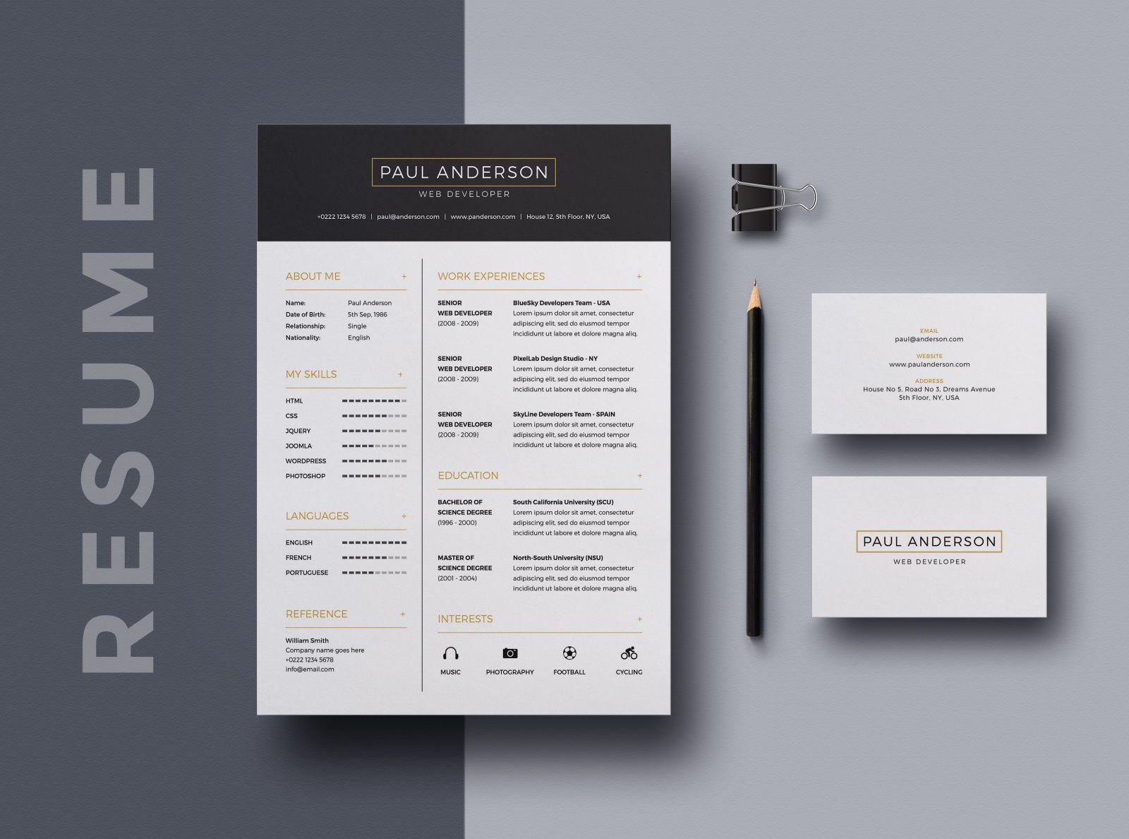 Resume Cv Bailey Resume Design Template Resume Design Creative