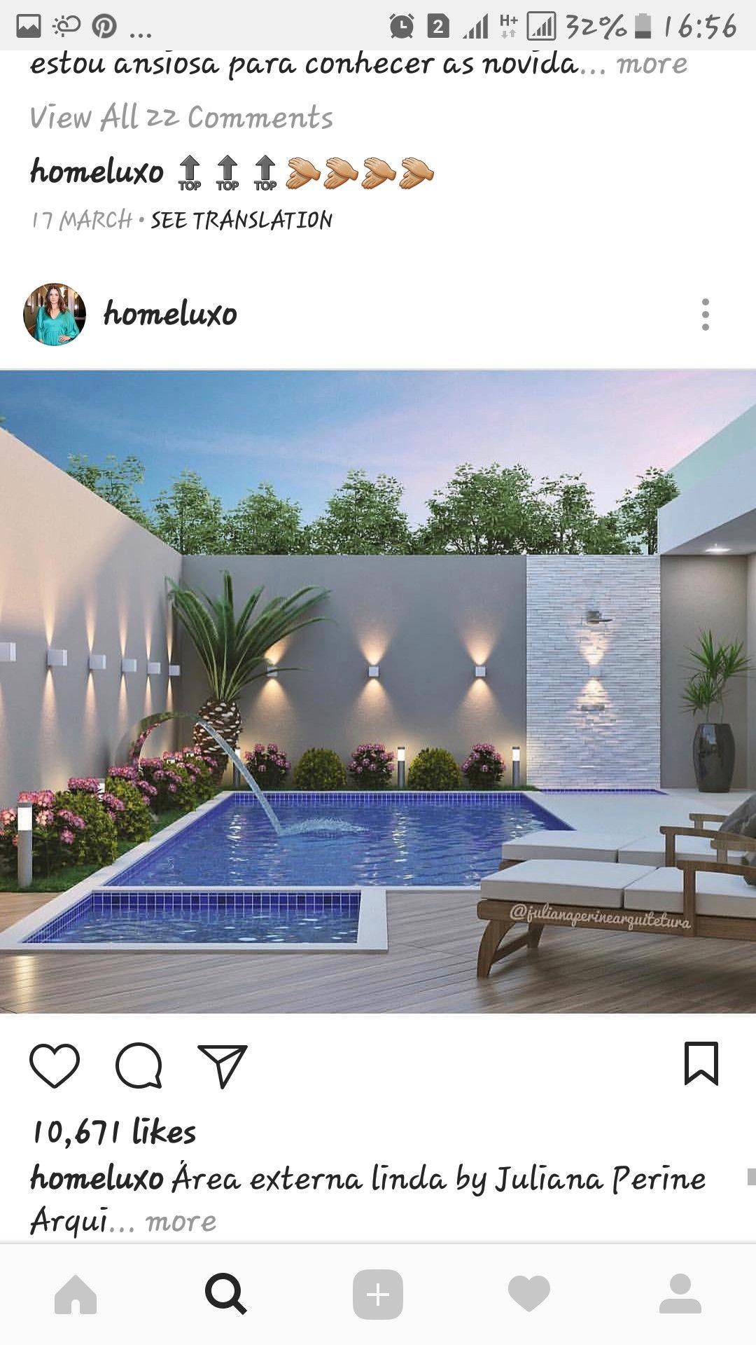 Like The Wall Lighting Around The Pool Projeto De Paisagismo