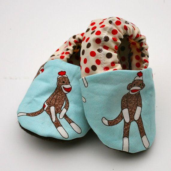 Sock Monkey Baby Boy Shoes On Blue With Polk A Dot Backs Size 0 3
