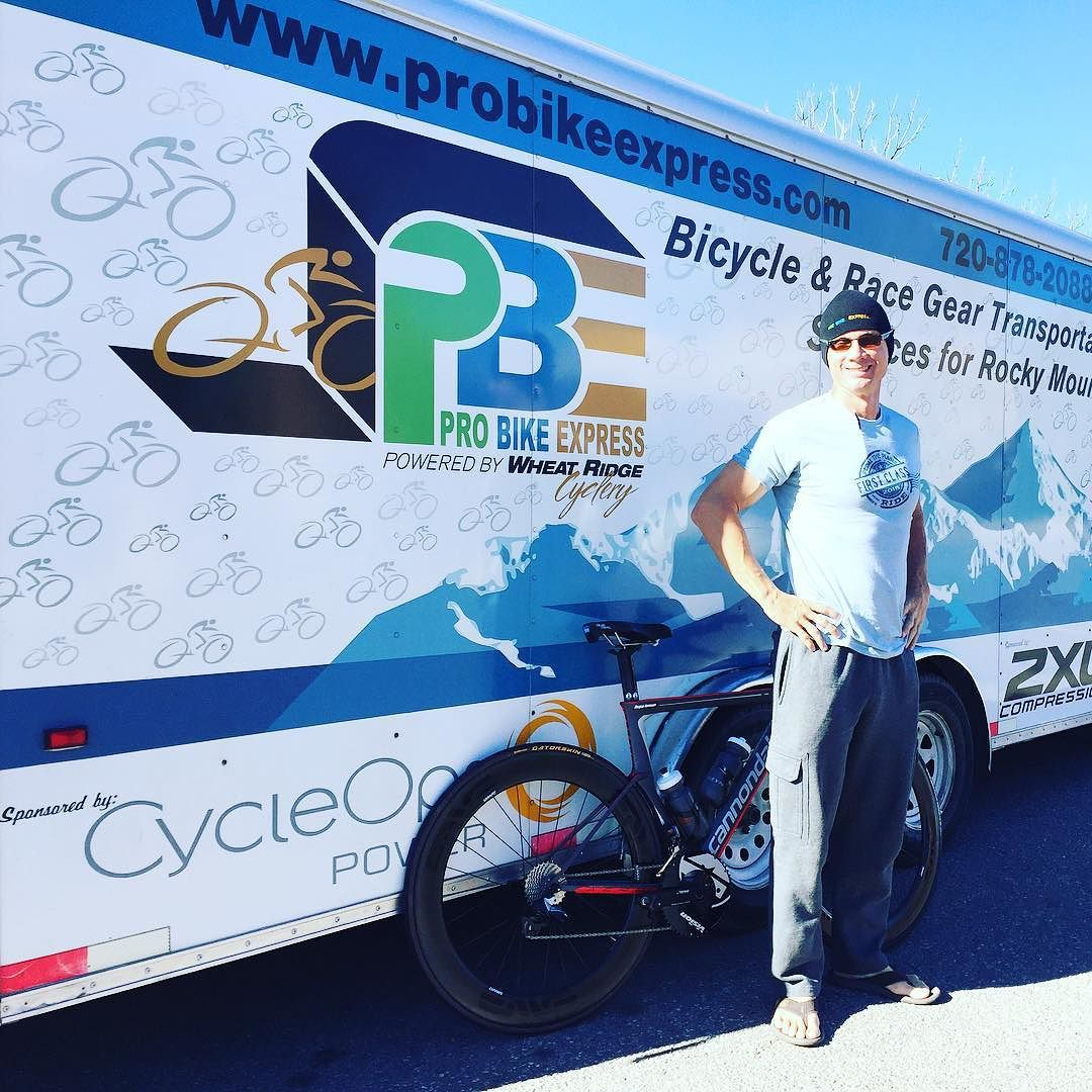 Entrusting my bike to the most capable transporter @probikeexpress ... See you on the other side spicy.  And you too Wes. @ridecannondale @powertappix @cycleopstagram by cyclist_lawyer