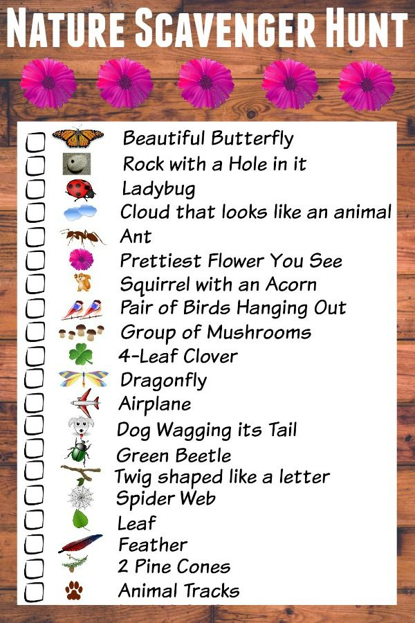Nature Scavenger Hunt For Kids With Free Printable Checklist Camping ActivitiesSummer