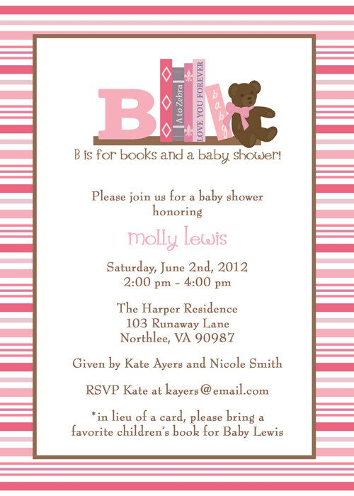 Book Baby Shower Invitation, In Lieu Of A Card Please Bring A Childrenu0027s  Book With A Message, Digital File