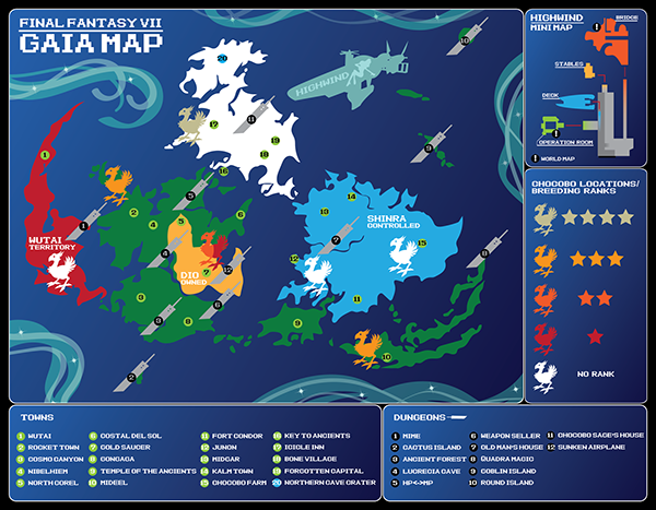 Final Fantasy Vii World Map On Behance Project Ideas