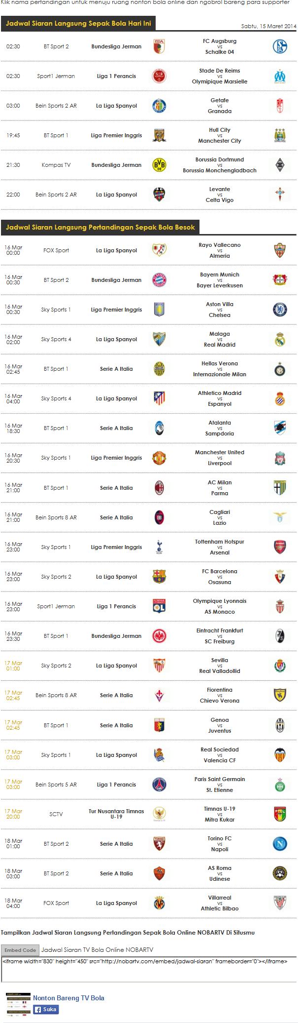 Jadwal Nonton Bareng Bola Online di NOBARTV.COM Liga inggris, La Liga Spanyol, Serie A Italia, Liga 1 Perancis, Bundesliga Jerman, Tur Nusantara Timnas U-19  Siaran Bola Online Tanggal 15 - 18 Maret 2014  Jadwal lengkap kunjungi http://www.nobartv.com/