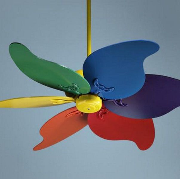 Ceiling Fan Multi Color New 6 Blades Boys Room Colored Ceiling
