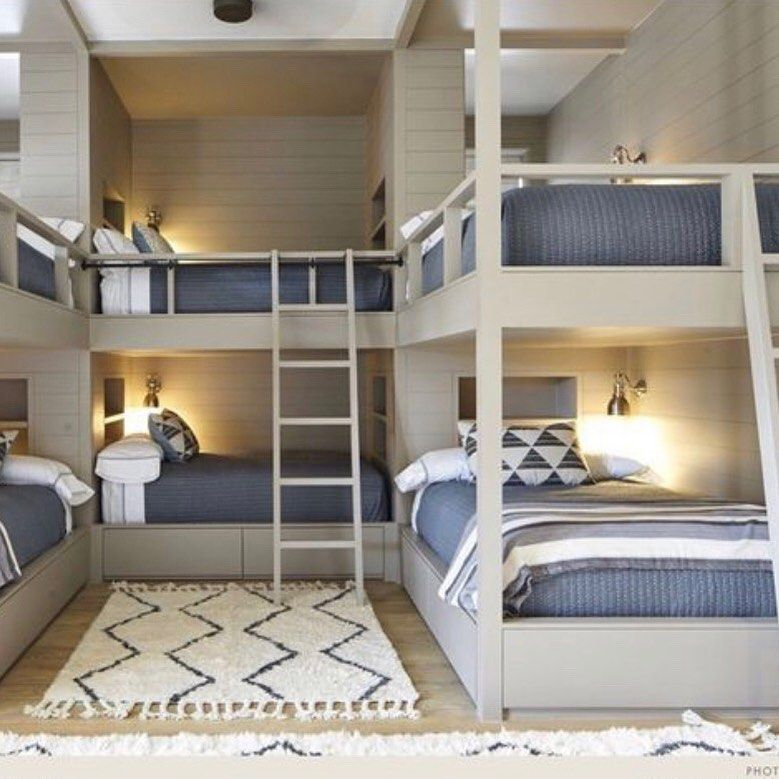 4 Beds In One Wall Bunk Beds Built In Built In Bunks Bedding