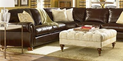 Nice Way To Offset Dark Leather Sectional Thomasville Benjamin Brown Leather Sectional Ottoman In Living Room Thomasville Furniture Living Room Inspiration