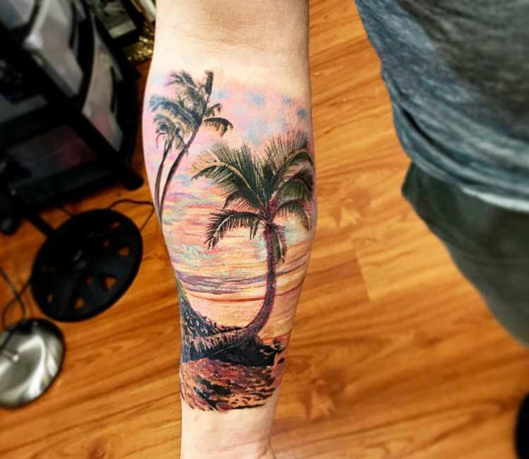 Photo Beach Tattoo By Lucian Toro Beach Tattoo Sunset Tattoos