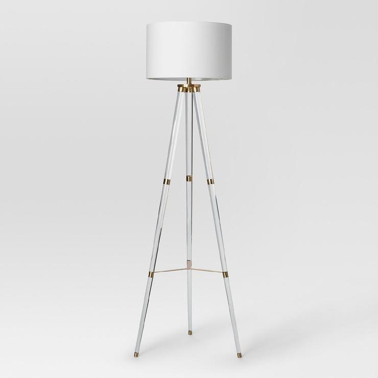 Delavan tripod acrylic brass floor lamp