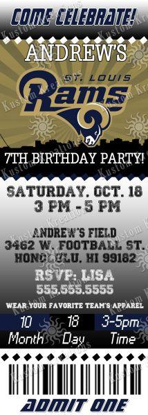 Nfl St Louis Rams Ticket Birthday Invitation