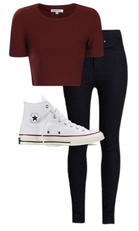 c53a52bf1b1bf7 Maroon crop top with high waisted black jeans fashion high jpg 467x779  Maroon crop top