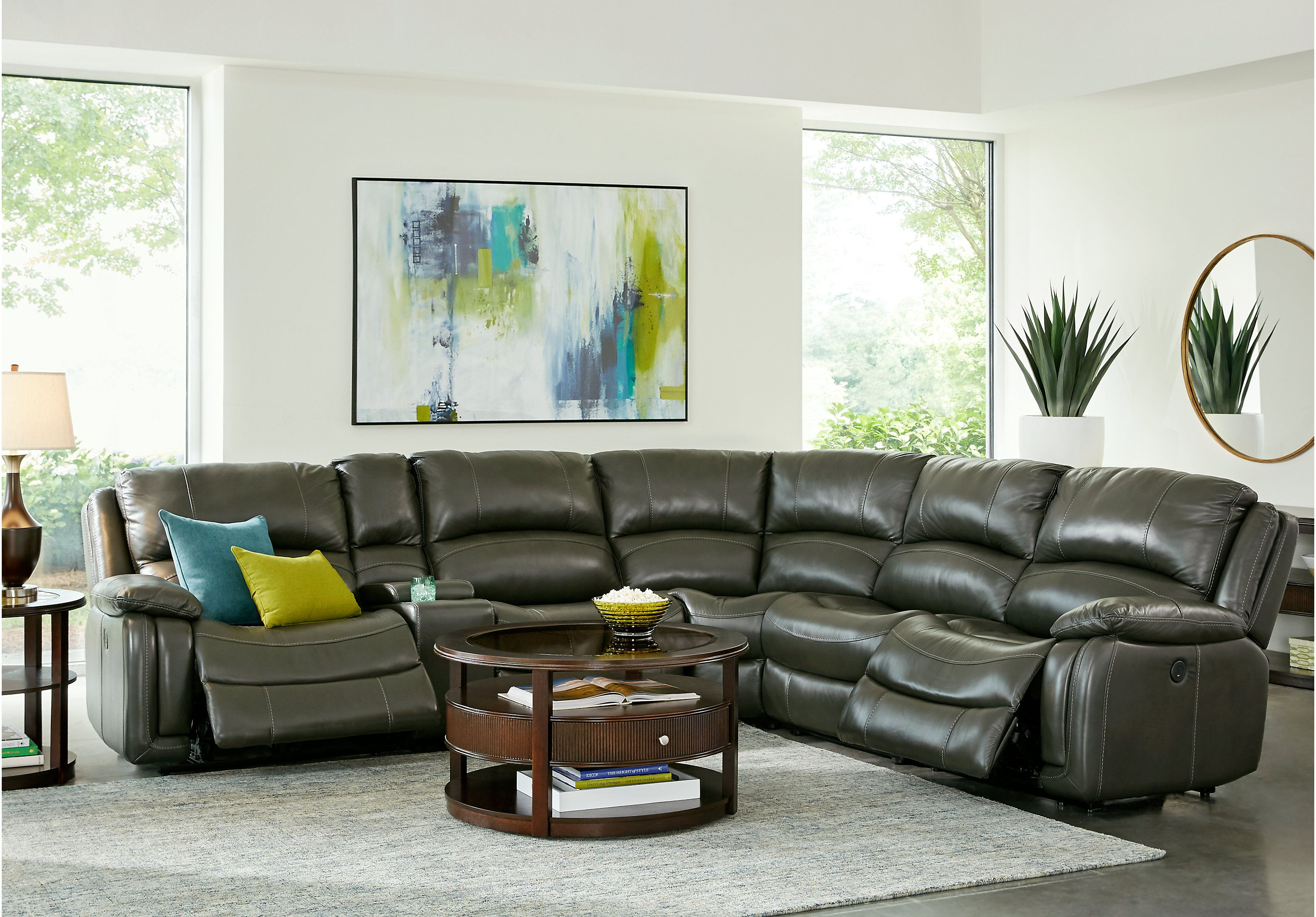 Colorado Springs Gray 6 Pc Leather Reclining Sectional Living Rooms