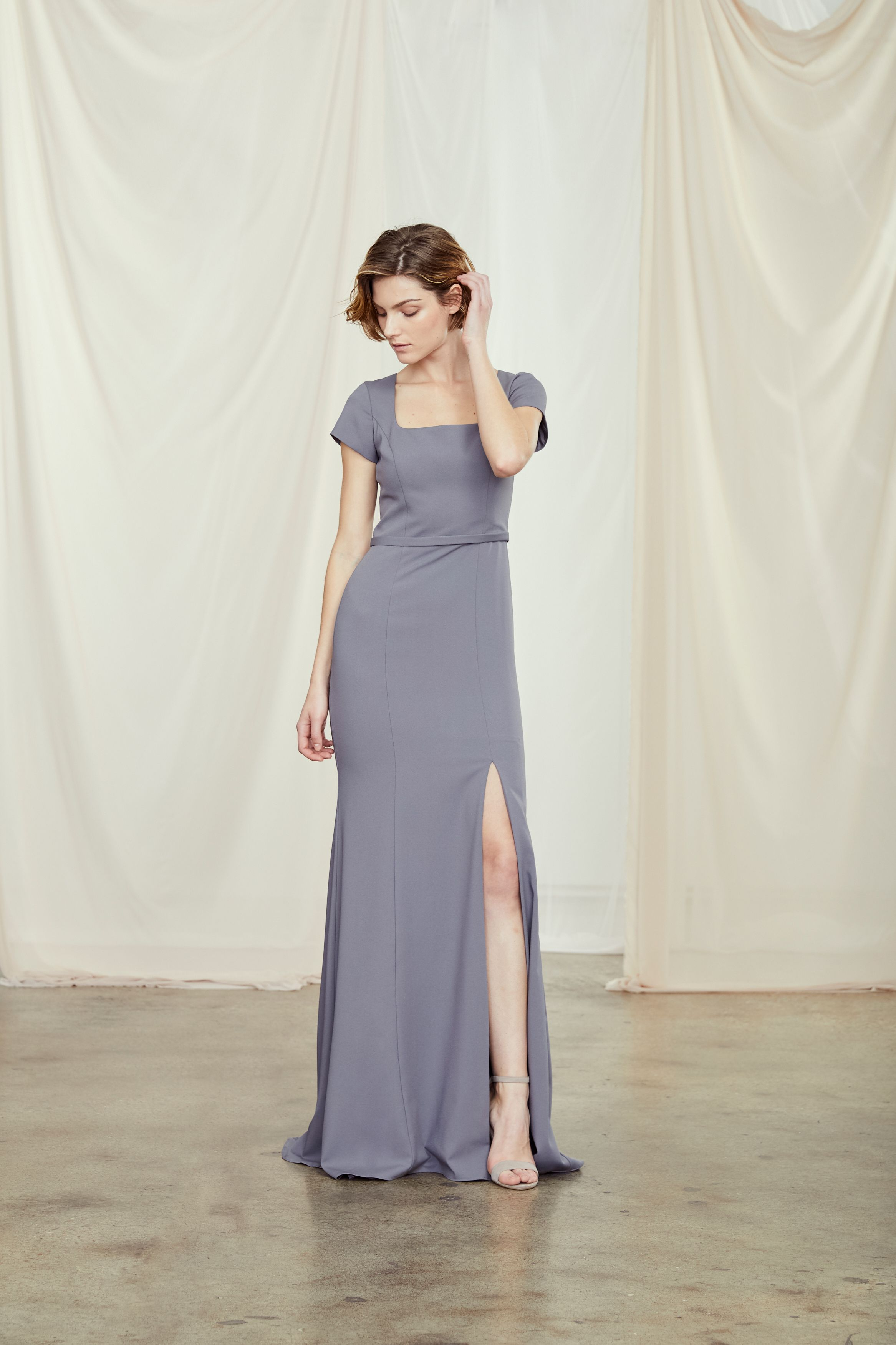 Cal square neckline dress amsale bridesmaid dresses