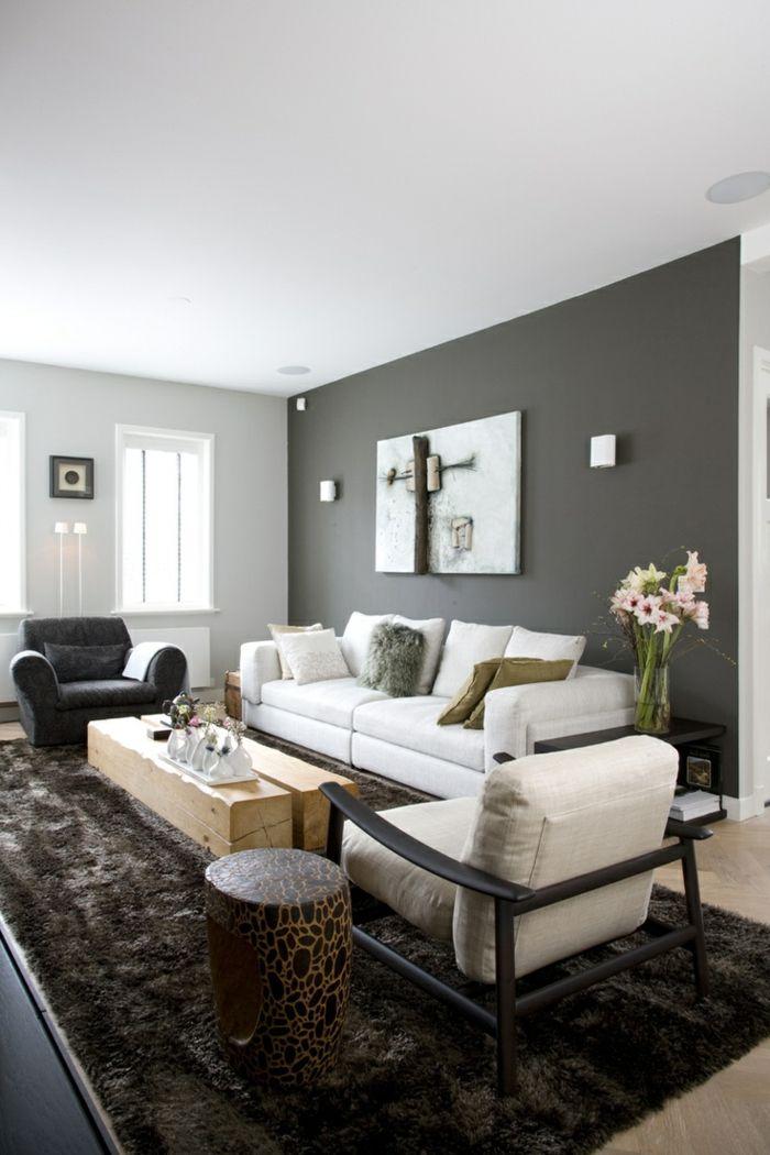 awesome einrichtungsideen wohnzimmer graue akzentwand fellteppich ...