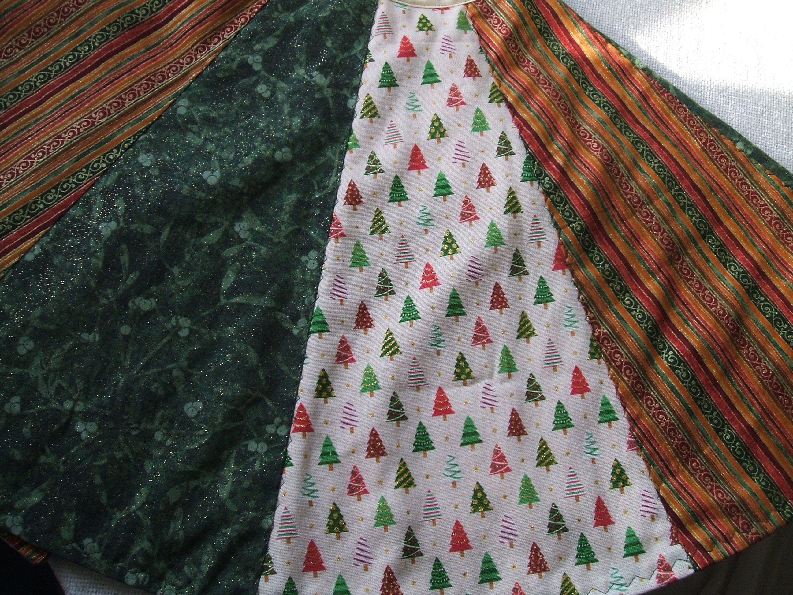 """Christmas Tree Skirt 40"""" Trees on cream 'linenlike' fabric and gold green red stripes with gold ..."""