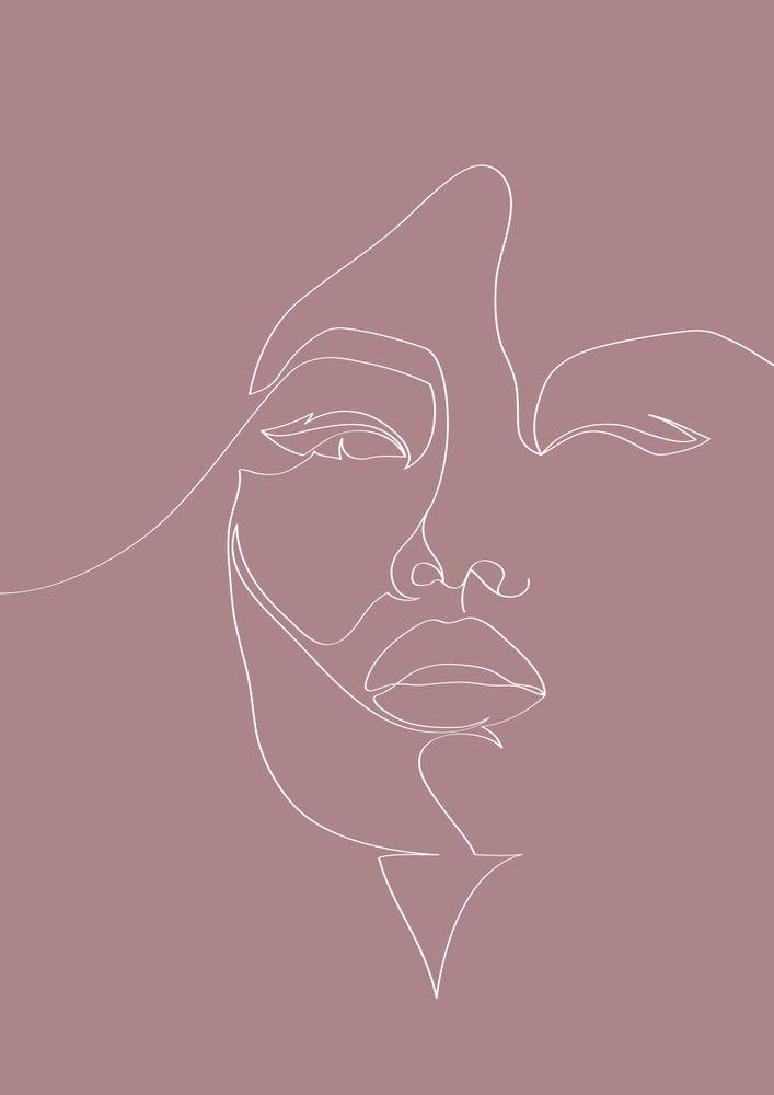 Minimal Half Face Line Print Art Print