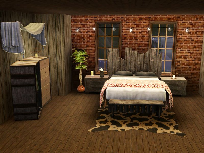 A rustic, cozy bedroom retreat, featuring simple design ...