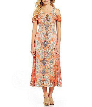 698128cbfb4 Reba Lace-Up Cold Shoulder Printed A-line Midi Dress Dillards