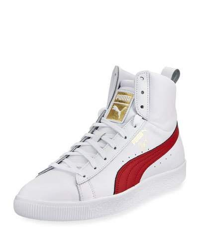bd2886ecc5 PUMA CLYDE MID CORE HIGH-TOP LEATHER SNEAKER