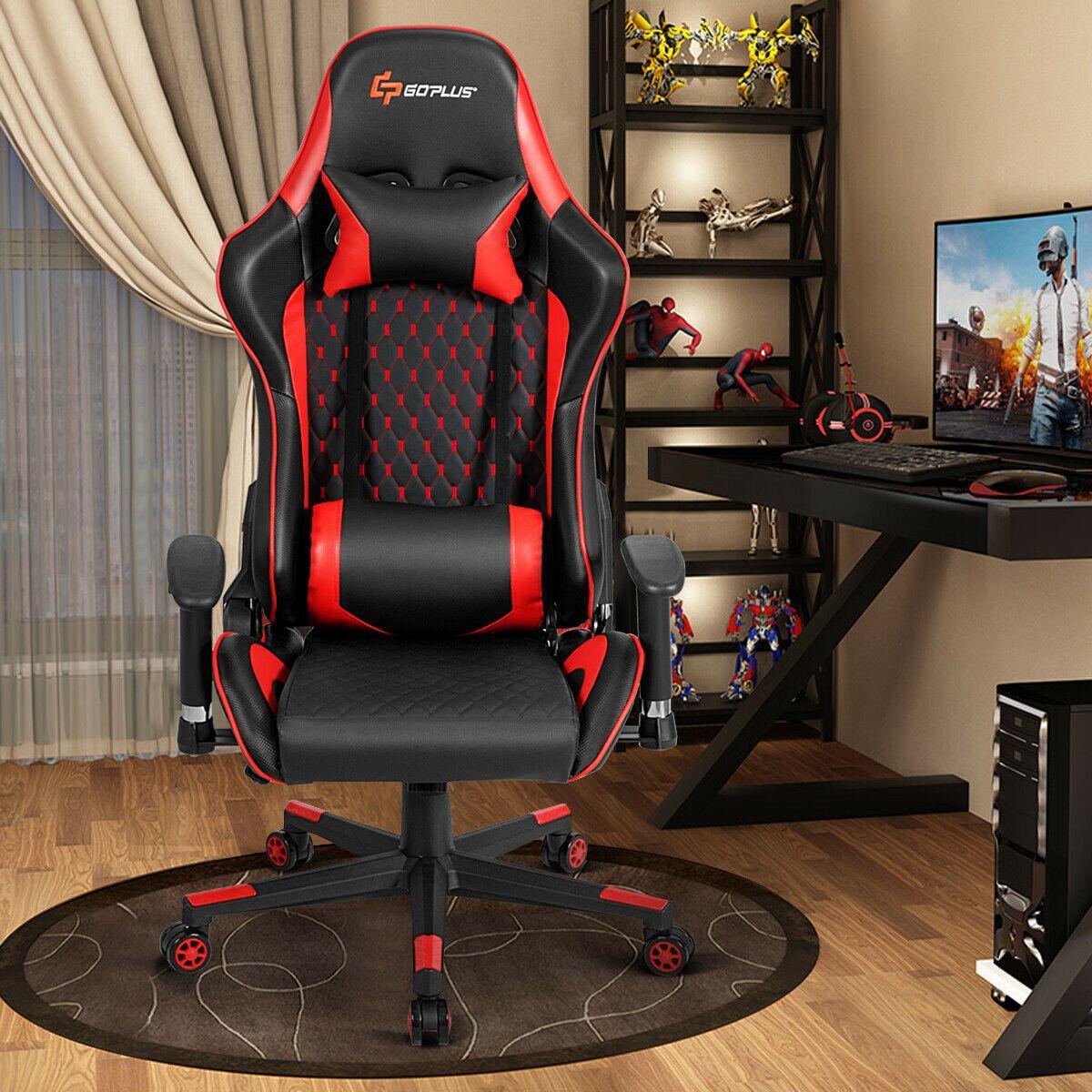 Lumbar Support and Headrest Massage Reclining Gaming Chair