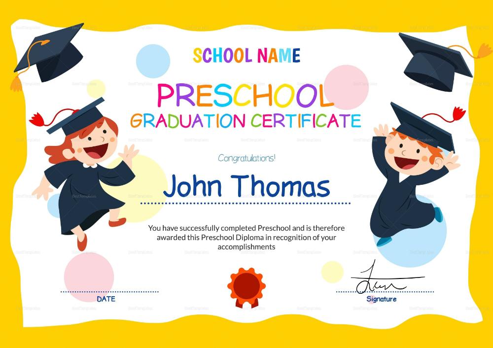 Preschool Graduation Certificate Template Free Preschool Diploma Template Graduation Certificate Template Preschool Certificates