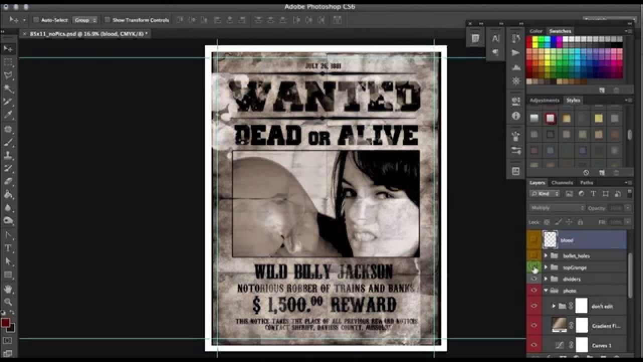 Old Western Wanted Poster Template Photoshop Tutorial Photoshop
